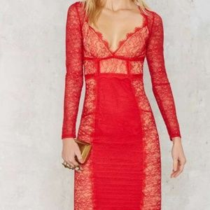 "♥♥NWOT NASTY GAL ""MUST BE THE LACE"" RED DRESS ♥♥"